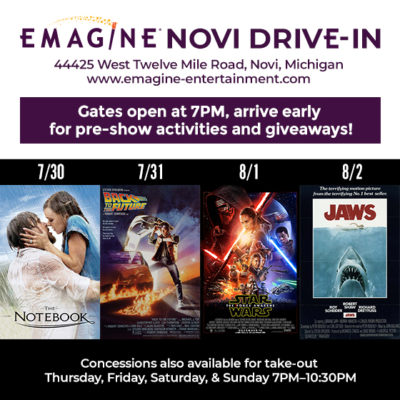 Emagine Drive-In features this week, 7/30 – 8/2